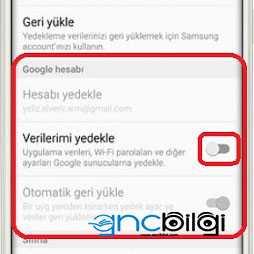 Telefon Rehberini Gmaile Yedekleme